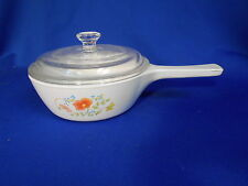 Corning WILDFLOWER 1 Pint  Minuette pan & lid White Multi-colored flowers P-81-B