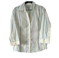 Banana Republic Womens S Button Shirt Top 3/4 Sleeve Fun Stripe V Neck Blouse