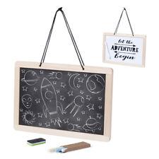 Framed Chalkboard / Blackboard & Whiteboard on reverse Wall hanging Pen & Chalks