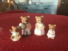 Vintage Homco Teddy Bear Easter Family 4 Pc #1430 Mom Dad 2 Children Eggs Chick