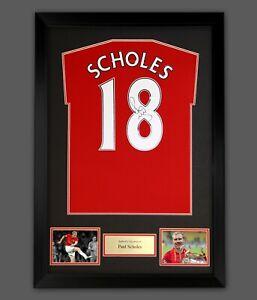 Paul Scholes Signed No 18 Man U Football Shirt In A Framed Presentation