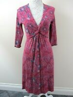 White Stuff dress size 12 stretch pink & teal leaf fit & flare tie knot front.