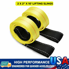 Two 2x 2 X 10 Ft Nylon Polyester Web Lifting Sling Tow Strap Hoist Straps New