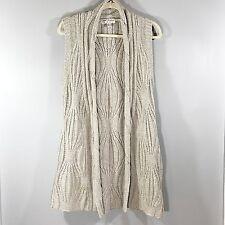 CABI Cableknit Long Open Sweater Vest Wool Cotton Yak Blend SZ L