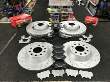 AUDI A6 2.0TDi C6 4F CROSS DRILLED GROOVED BRAKE DISCS BRAKE PADS FRONT REAR