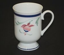 Classic Molesworth Fuchsia Mug by Princess House Pink & Blue Flower w Blue Band