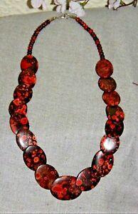Collar Crisocola Aleación 66CM Rot-Schwarz-Handarbeit -india