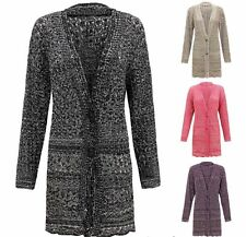 Women 2 Button 2 Tone Knitted Ladies Cardigan Cable Crochet Sweater Jumper 14-26