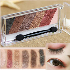 Beauty Eye Shadow 6 Colors Shimmer Eyeshadow Palette & Makeup Cosmetic Brush Set