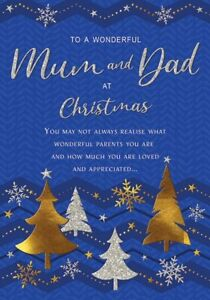 Wonderful Mum & Dad at Christmas - Foil and Glittered Christmas Card