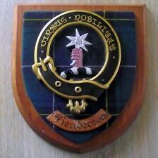 More details for vintage old scottish carved clan henderson tartan plaque crest shield xxx