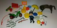 Vintage Playmobil Lot Horse,Fishing,Dirt Bike,Hats,Suitcase,Scateboard,Gas Can