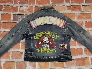 Replay Bleu Jeans Vintage Veste Femme 1984 HARD ROCK Detroit Mc Gr :L comme Neuf