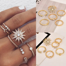 6pcs Gold Stack Plain Above Knuckle Ring Midi Finger Rhinestone Rings Set