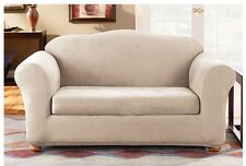 Sure Fit Loveseat Slipcover Stretch Suede 2 Piece Oatmeal Color Box Seat Cushion