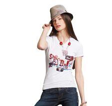 VSCT Clubwear She´s a DJ T-Shirt Gr. S white V-Neck Shirt Jersey Style Deejay