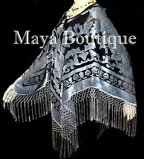 Silk Burnout Velvet Poncho Shawl top With Fringe Silver Gray Black Maya Matazaro