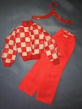 1974 Barbie Get Ups N Go Fashion #7787 Checkered Red White Skiing Shirt Pants