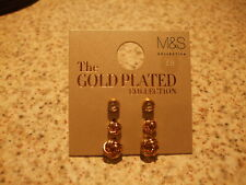 M/&S MUST HAVES LADIES PIERCED EARRINGS GOLD MIX CIRCULAR NEW