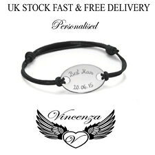Engraved Personalised ID Bracelet Black Lace Stainless Steel Gift UK Vincenza