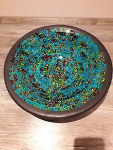 Schöne Schale mit Glas Mosaik blau Mosaikschale