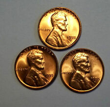 1955-P-D&S LINCOLN CENTS,LOT OF 3 COINS,CHOICE BRILLIANT UNCIRCULATED