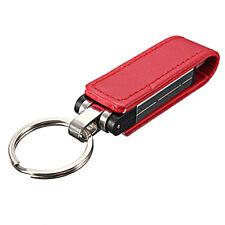 32GB USB 2.0 Palillo de memoria Llaveros caja de cuero Rojo D9P9