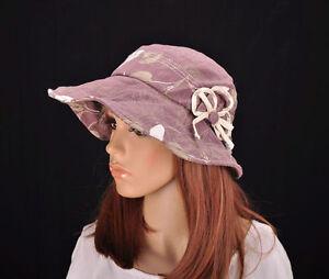 M197 Purple Nice Floral Cotton Sun Hat Wide Brim Cap Bucket Summer Lady NEW