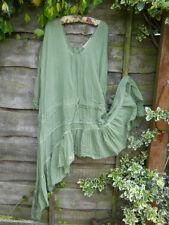 RITANOTIARA ONE SIZE LONG CURVE HEM LACE TEA DRESS ROMANTIC DROP WAIST GREEN