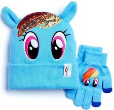NWT OFFICIAL My Little Pony Rainbow Sparkle Dash Beanie Hat Glove Set Girls OSFA