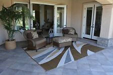 Patio Furniture Rug Brown/Beige Wave Backyard Patio Mat Outdoor Reversible Rug