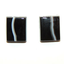 Black and White Agate 10x12mm with 3mm dome Cabochons Set of 2 (11778)