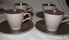 4 X VINTAGE Poole Pottery 1960'S TWINTONE SEPIA AND MUSHROOM  TEA CUPS & SAUCERS