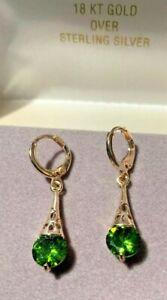 Peridot Drop Earrings  In Rose Gold 3cts. each