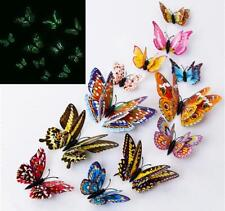 12Pcs 3D Butterfly Glow in The Dark Decal Wall Magnetic Sticker Home Decor Oma