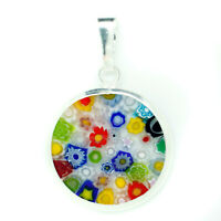 Murano Vidrio Colgante Multicolor Millefiori Plata de Ley Circular