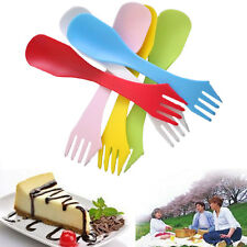 6pcs Plastic Spork Knife Spoon Fork Outdoor Camping Hiking Travel Cutlery New