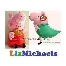 Licensed BEANIE BABIES - PEPPA PIG PLUSH & GEORGE PIG DINOSAUR Stuffed Toy
