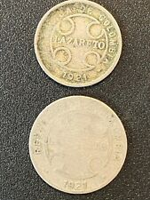 Two 1921 Colombia Leper Colony Coins Lazareto  Leprosy - Free Shipping!