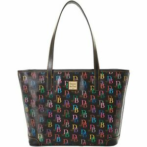 Dooney Bourke Black Multicolor DB logo Charleston Shopper Tote Large Handbag NEW