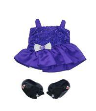 BUILD A BEAR W PURPLE SATIN PARTY PROM DRESS SILVER BOW CLOTHES & BLACK SHOES #M