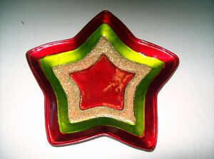 NEW CERAMIC STAR DISH HOLDER PLATE BOWL CHRISTMAS HOLIDAYS