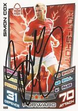 SIMON COX SIGNED N.FOREST 12/13 CHAMPIONSHIP MATCH ATTAX CARD+COA