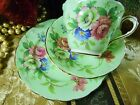 PARAGON TEA CUP AND SAUCER TRIO PALE GREEN PINK ROSE & FLORALS GOLD TRIM c1939