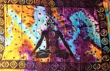 """Altar Cloth/Wicca/Pagan/Sarong/Tapestry/Scarf Tie Dye Seven Chakra 42""""x68""""SCV117"""