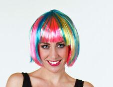 Perücke Lilly Charleston Bubikopf Techno Party Disco Burleske bunt regenbogen