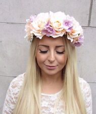 Large Peach Lilac Purple Hydrangea Rose Flower Garland Headband Hair Crown 2519
