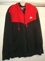 Nike VINTAGE Full Zip Hoodie Sweatshirt Red Black Color Block Men's XXLarge