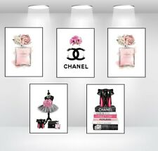 SET OF 5 COCO CHANEL ART PERFUME BOTTLE A4 PRINTS +  MARILYN MONROE + QUOTE