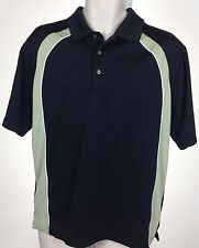TOP FLITE Mens Black & Beige Short Sleeve Golf Polo Shirt Sz M